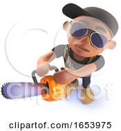 Cartoon African American Black Hiphop Rap Artist With A Chainsaw