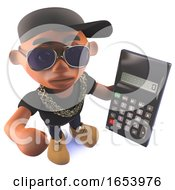 3d Cartoon Black African American Hiphop Rapper Holding A Calculator
