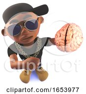 Cartoon Black African American Hip Hop Rapper Holding A Brain