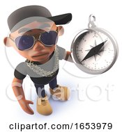 Cool Black African American Hiphop Rapper Holding A Magnetic Compass