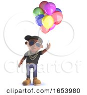 Cartoon Black African American Hip Hop Rapper In 3d With Balloons