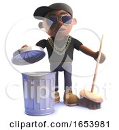 3d Cartoon Black African American Hiphop Rapper With Trash Can And Broom