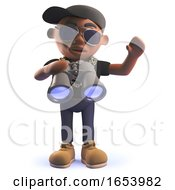 Cartoon 3d Black African American Hiphop Rapper With Binoculars