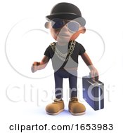3d Cartoon Black African American Hiphop Rapper With Bowler Hat And Briefcase