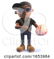 Black African American Cartoon Hiphop Rapper Holding A Human Brain