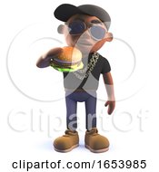 Black African American Cartoon 3d Hiphop Rapper Eating A Cheese Burger by Steve Young