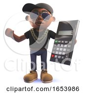 3d Cartoon Black African American Hipop Rap Artist Holding A Digital Calculator