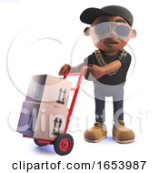Cartoon 3d Black African American Hip Hop Rap Artist With Trolley And Parcels