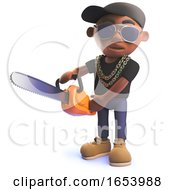 Cartoon 3d Black African American Hiphop Rap Artist With Chainsaw