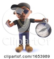 Black African American Cartoon 3d Hip Hop Rap Artist With Magnetic Compass