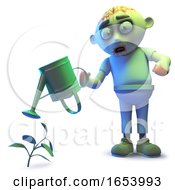 Silly Undead Zombie Monster Watering His Undead Plant by Steve Young