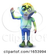Stupid Undead Zombie Monster Waving A Cheerfull Hello by Steve Young