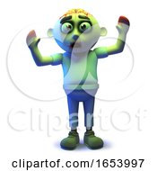 Cartoon Scarey Undead Zombie In 3d Waving His Arms In The Air by Steve Young