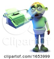 Cartoon Scarey Undead Zombie Monster Holding A Typewriter