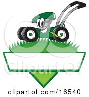Clipart Picture Of A Green Lawn Mower Mascot Cartoon Character Mowing Grass Over A Blank White Label by Toons4Biz