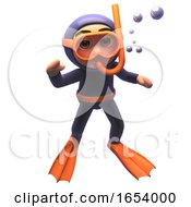 3d Scuba Snorkel Diver Character Waving A Cheerful Underwater Greeting