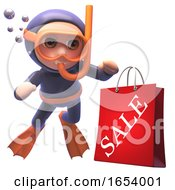 Funny Scuba Snorkel Diver In 3d Watchs A Shopping Sale Bag Sink