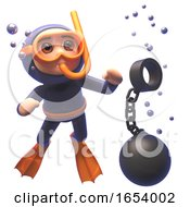 Funny 3d Scuba Snorkel Diver Character Watching A Ball And Chain Sink In The Sea