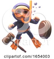 Funny 3d Scuba Snorkel Diver Watches An Auction Gavel Float Away by Steve Young