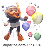 3d Scuba Snorkel Diver Watching Balloons Float By