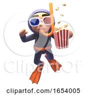 Scuba Snorkel Diver In 3d Eating Popcorn And Wearing 3d Glasses