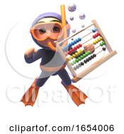 3d Scuba Snorkel Diver Character With An Abacus Floating In The Sea