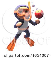 Funny 3d Scuba Snorkel Diver Chasing An Apple Underwater