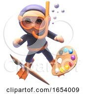 Poster, Art Print Of 3d Scuba Snorkel Diver Character With Paintbrush And Palette