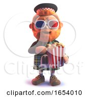 3d Scots Man In Kilt Eating Popcorn And Wearing 3d Glasses