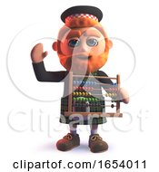 Scots Man Character In 3d Holding An Abacus
