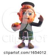 Scottish Man In Kilt Eating An Apple In 3d