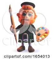 3d Scots Man In Kilt Holding A Paint Brush And Palette