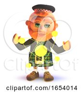 3d Scots Man In Kilt Looking At A Nuclear Atom