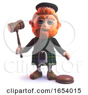 3d Scots Man In Kilt Holding An Auction With An Auctioneers Gavel