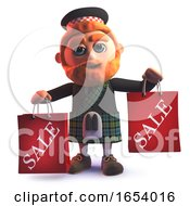 Scots Man In 3d Wearing A Kilt And Holding Shopping Sale Bags by Steve Young