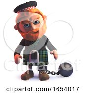 3d Scots Man Wearing A Kilt With A Ball And Chain