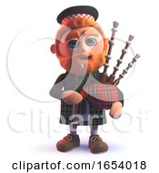 3d Scots Man In Kilt Playing The Scottish Bagpipes