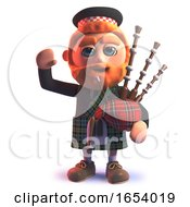 3d Scots Wearing A Kilt And Playing The Bagpipes While Waving