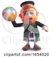 Funny 3d Scottish Man Throwing A Beach Ball by Steve Young