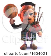 3d Scots Man Wearing Kilt And Balancing A Basketball On His Finger