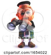 Scots Man Wearing A Kilt And Holding A Pair Of Binoculars In 3d