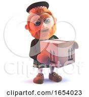 Scotsman In Kilt Delivering A Cardboard Box Parcel In 3d
