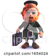 Scottish Man In 3d Wearing A Kilt And Carrying A Briefcase