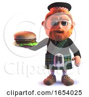 3d Scottish Man In Kilt Eating A Cheese Burger