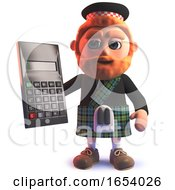 3d Scottish Man In Kilt Holding A Digital Calculator