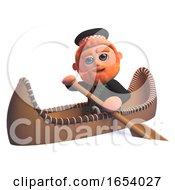 Funny 3d Scottish Man In Kilt Rowing A Kayak Canoe