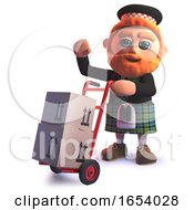 Funny 3d Scottish In Kilt Delivering Cardboard Boxes On A Handcart by Steve Young