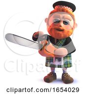 3d Funny Scottish Man In Kilt Using A Chainsaw