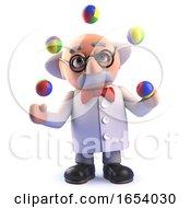 Crazy Mad Scientist Professor Juggling Balls In 3d