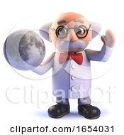 Mad Scientist Cartoon In 3d Holding A Model Of The Moon